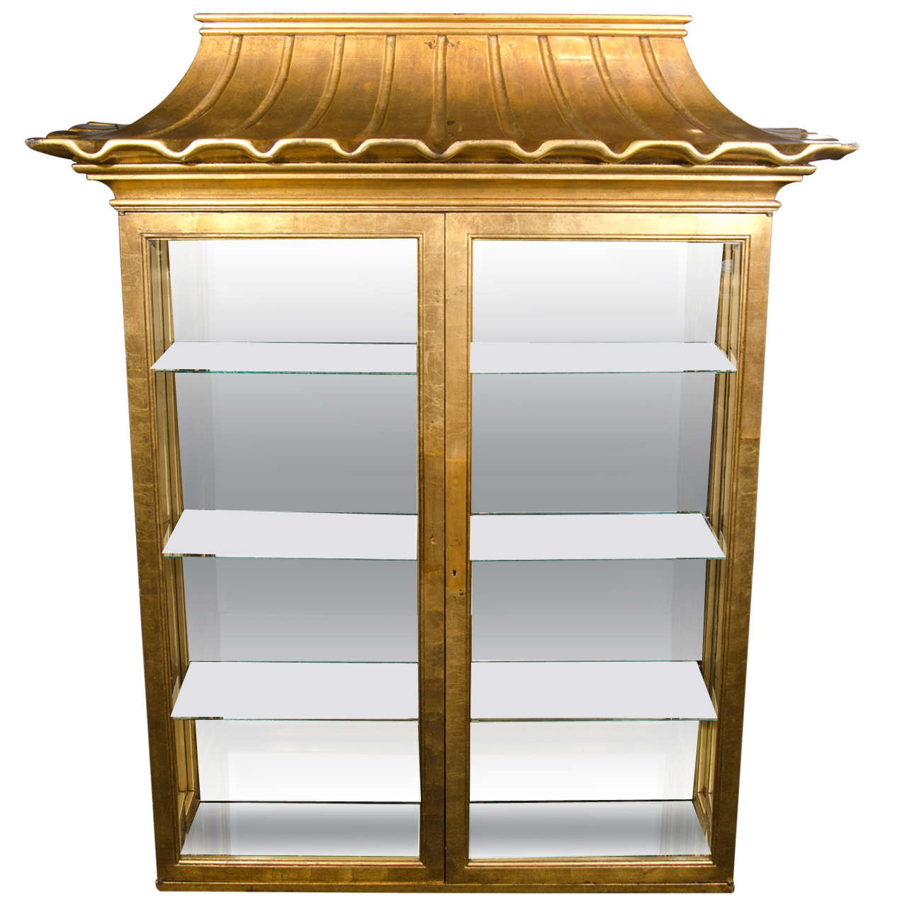 exceptional illuminated vitrine with pagoda design in the manner of james mont at 1stdibs. Black Bedroom Furniture Sets. Home Design Ideas