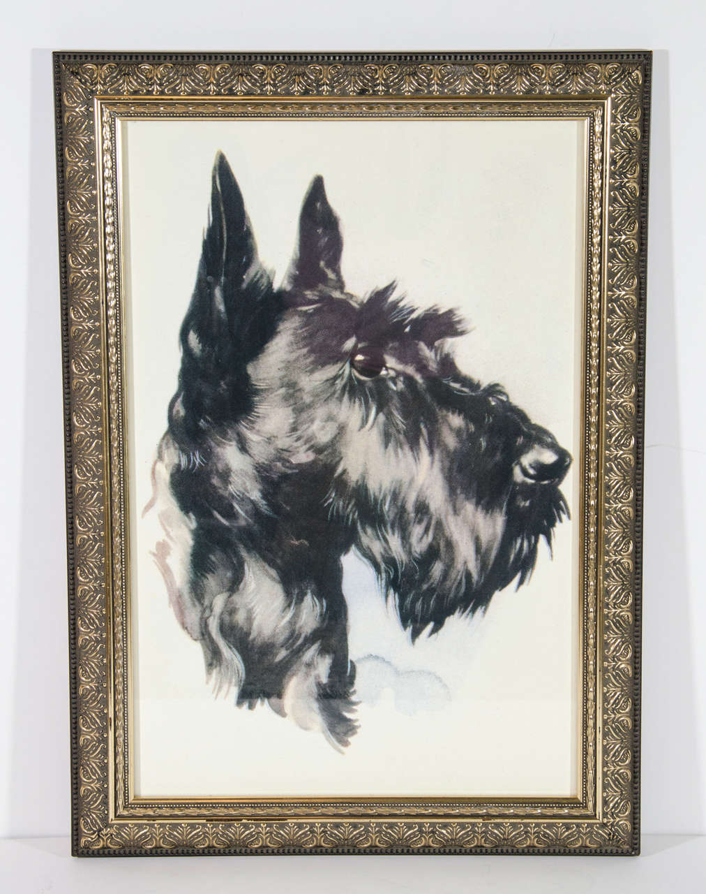Vintage 'Portrait of Dog' Colored Lithograph on Paper  2