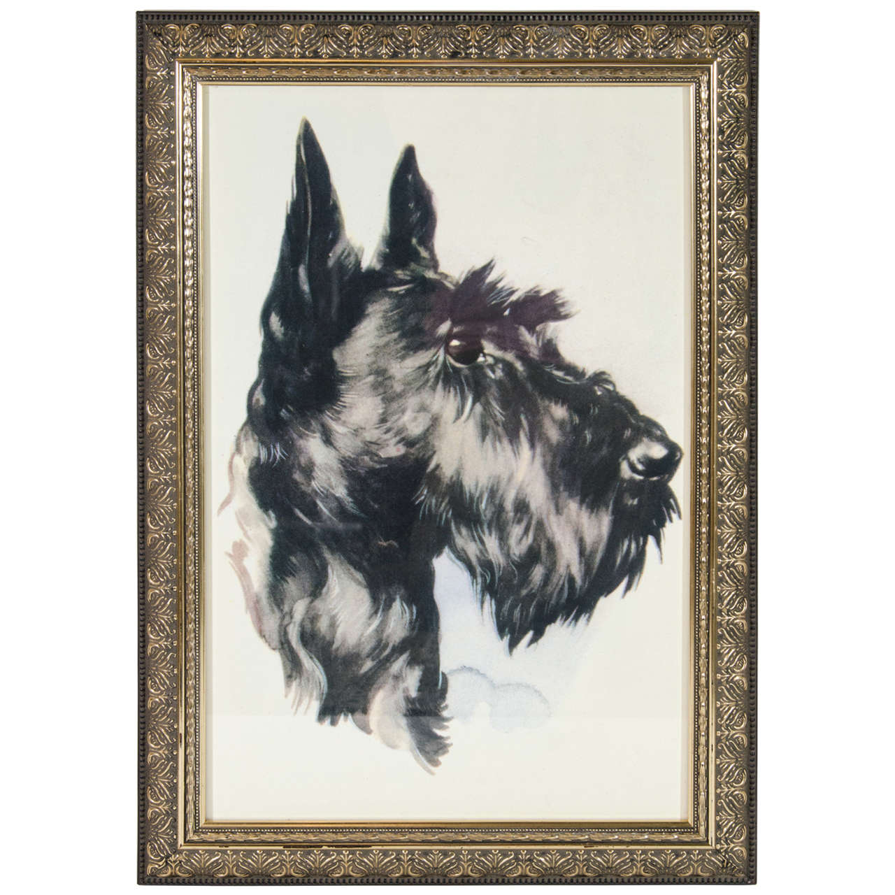 Vintage 'Portrait of Dog' Colored Lithograph on Paper  1