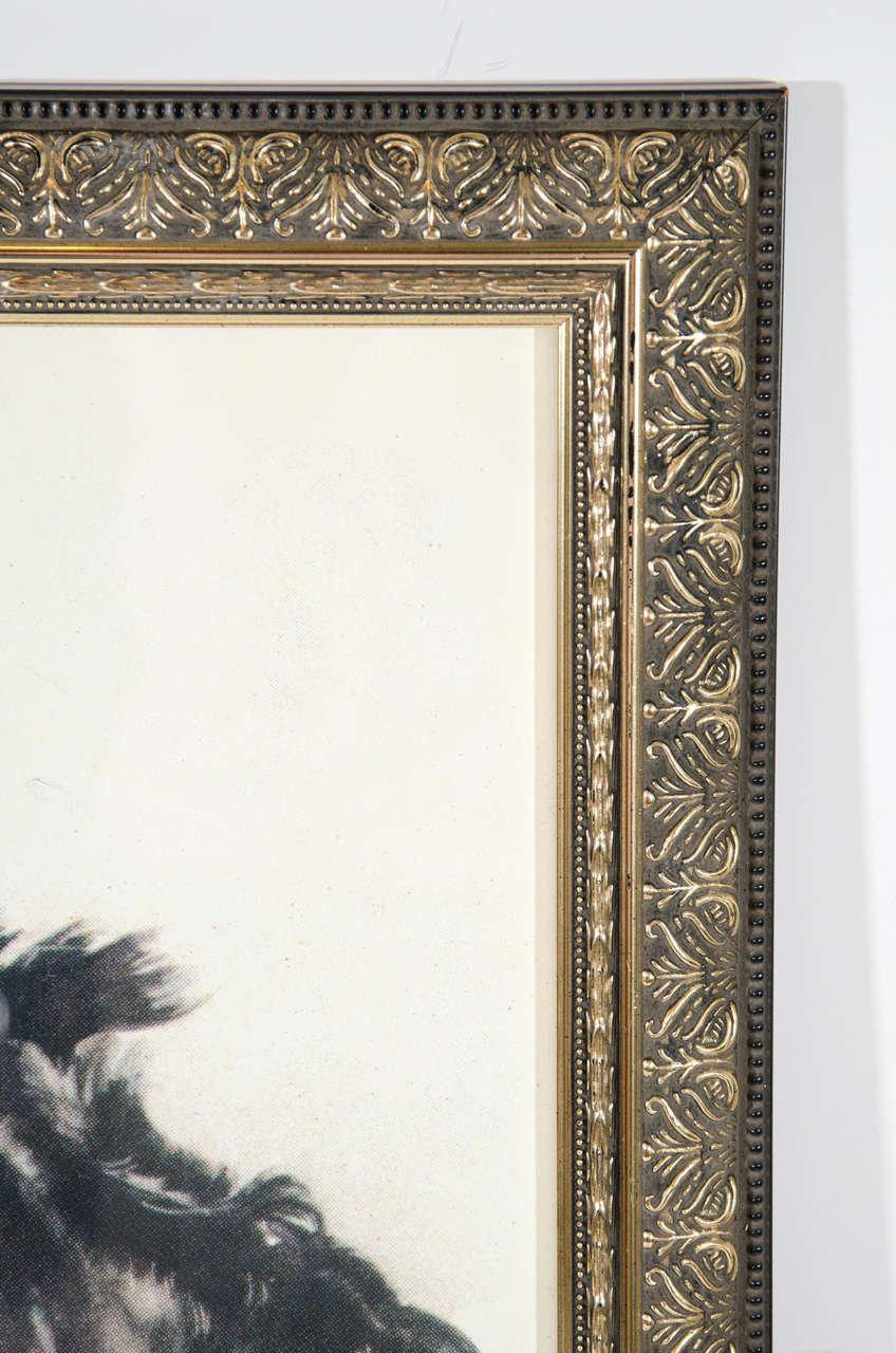 Vintage 'Portrait of Dog' Colored Lithograph on Paper  4