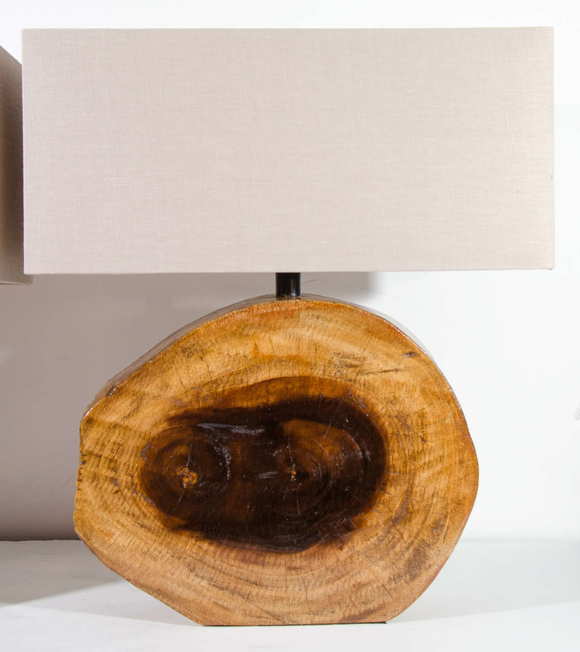 American Pair Of Organic Cedar Wood Lamps With Rustic Slab Design For Sale