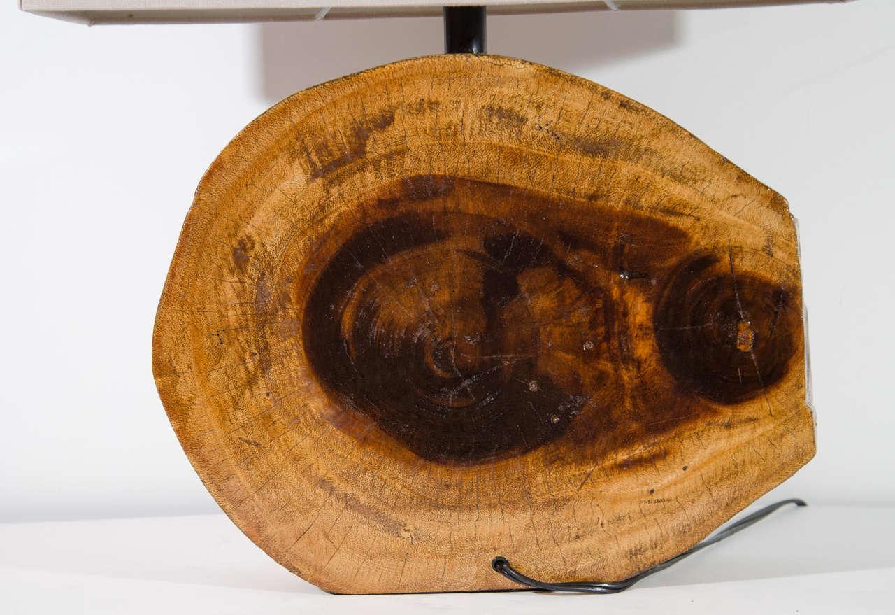 Pair Of Organic Cedar Wood Lamps With Rustic Slab Design