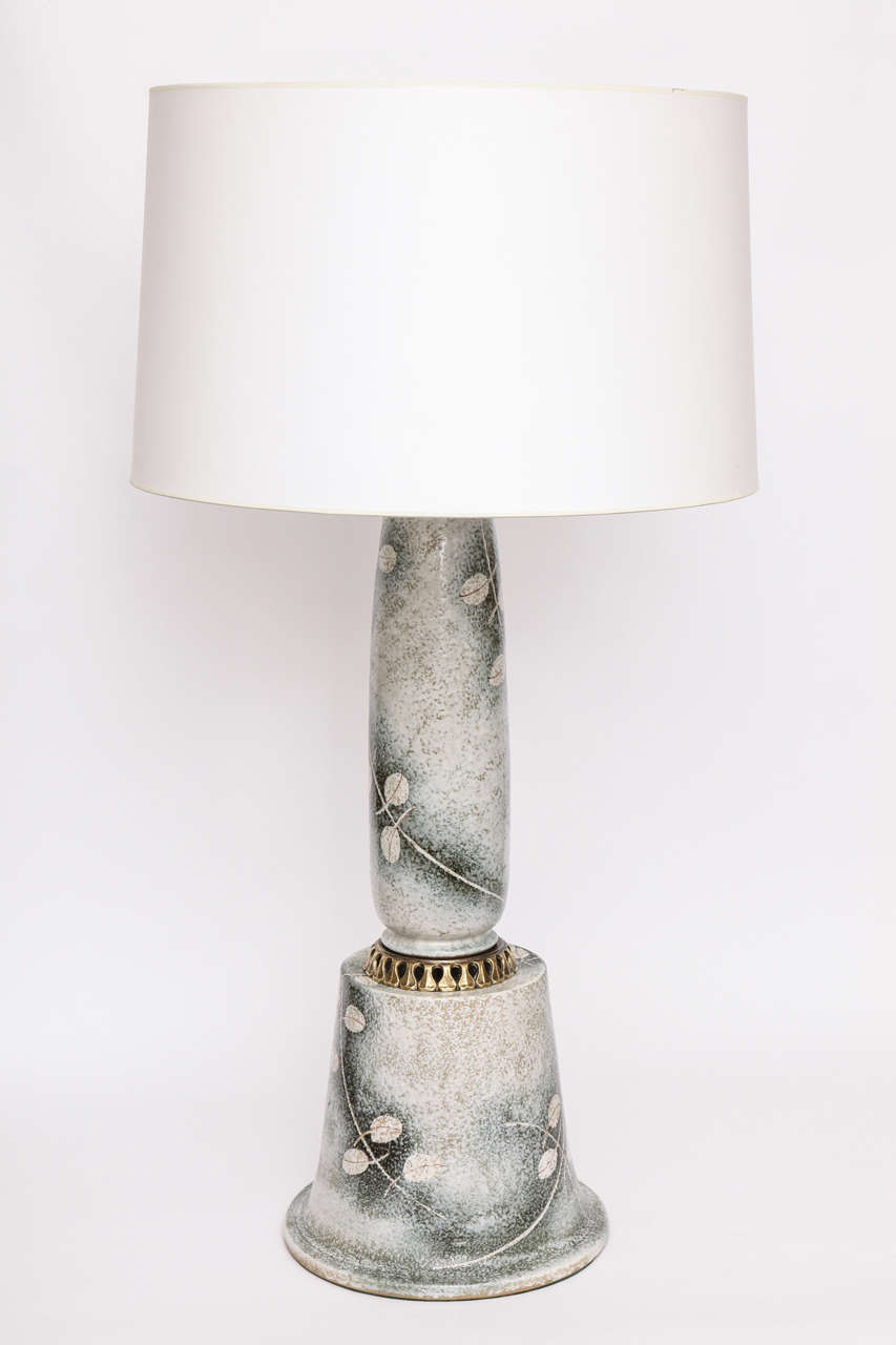 Mid-20th Century Table Lamp Art Moderne Ceramic Japan 1940's For Sale
