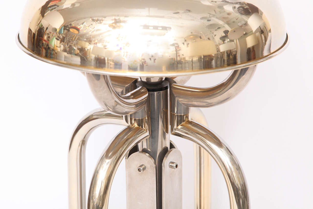 1970s French Architectural Brass and Nickel Table Lamp For Sale 4