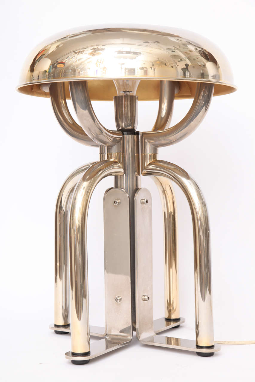 1970s French Architectural Brass and Nickel Table Lamp For Sale 5