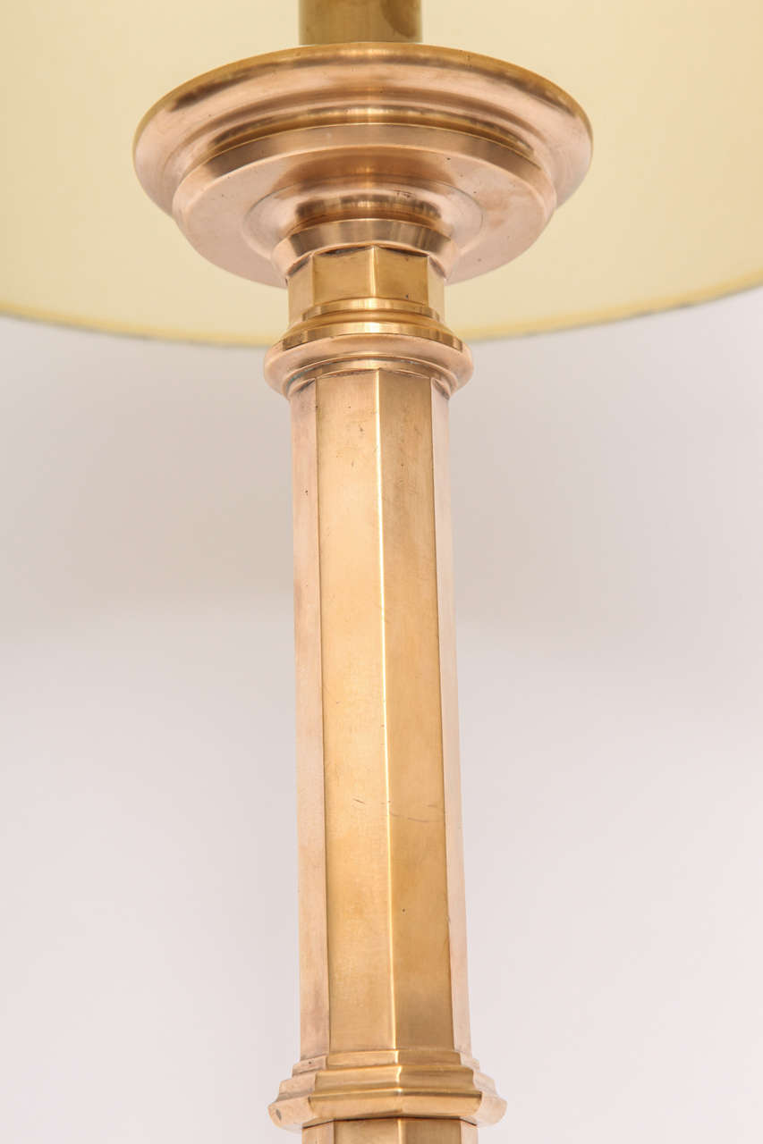 1920s Art Deco Gothic Modern Polished Brass Table Lamp At