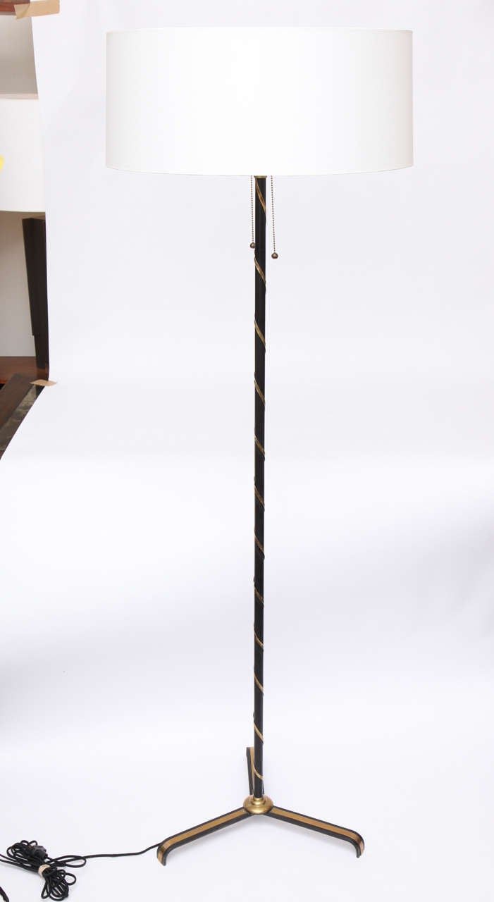 A 1940s French art moderne floor lamp. Shade not included