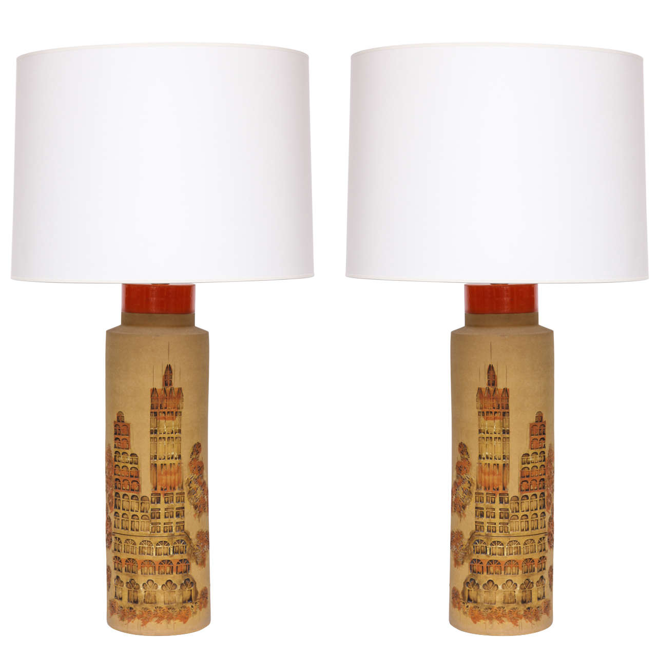 Pair of 1960s Italian Ceramic Table Lamps