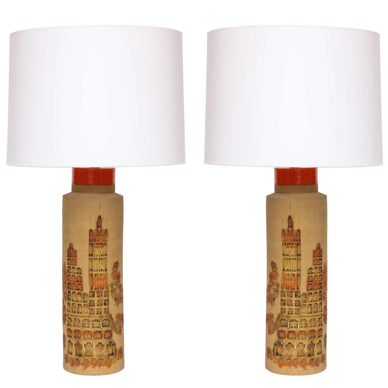 Pair of 1960s Italian Ceramic Table Lamps