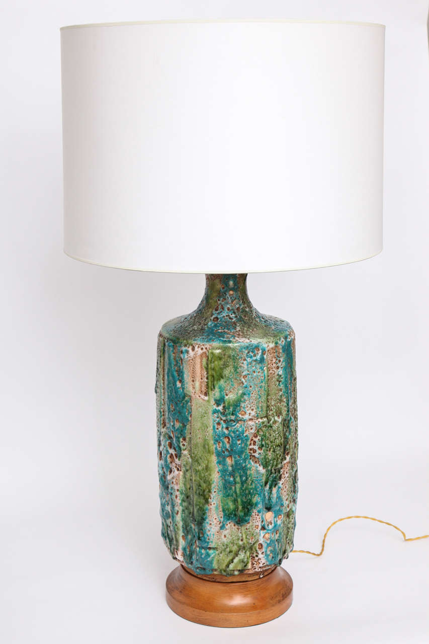 Pair of 1950s Italian Ceramic Table Lamps For Sale 2