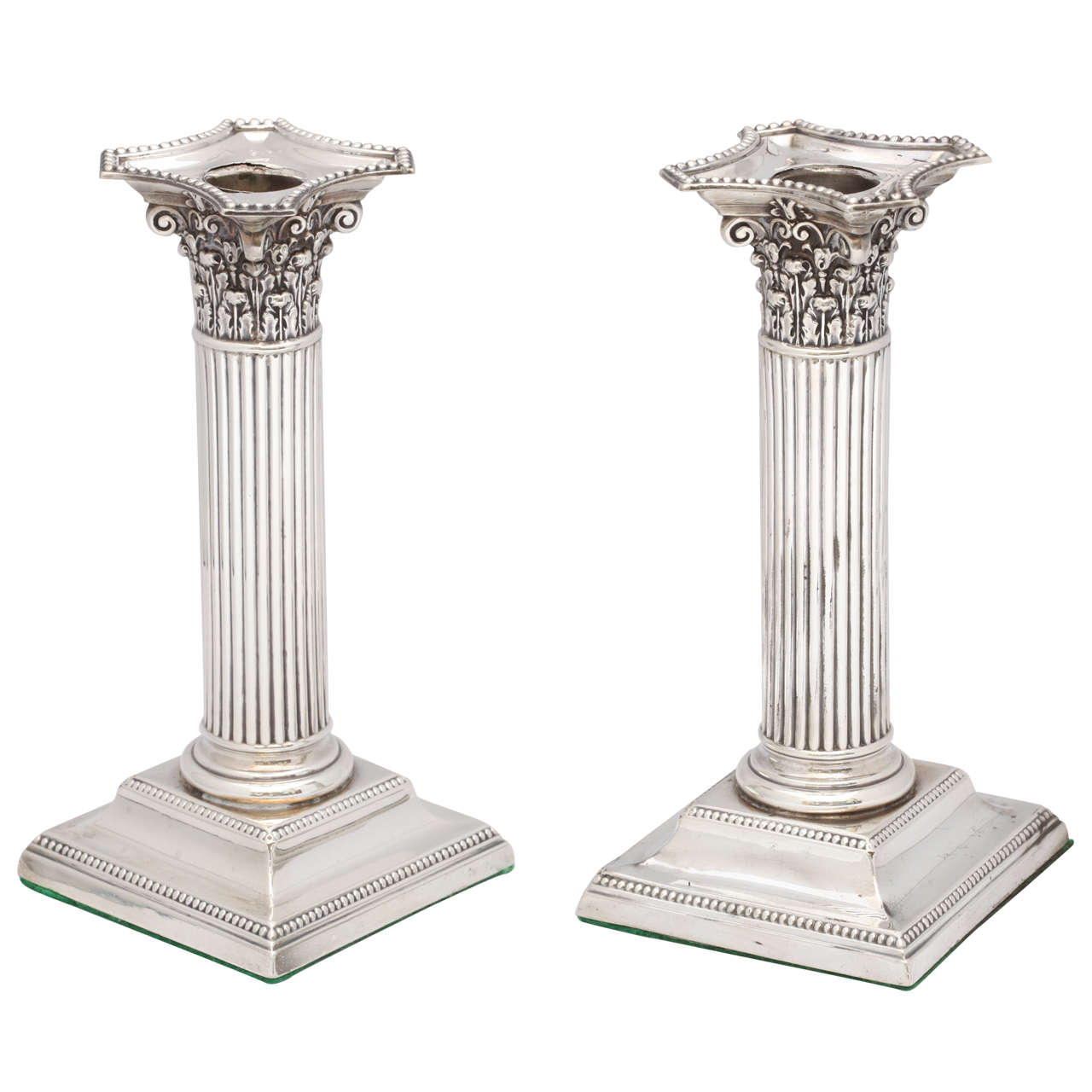 Pair of Neoclassical Sterling Silver Corinthian Column-Form Candlesticks