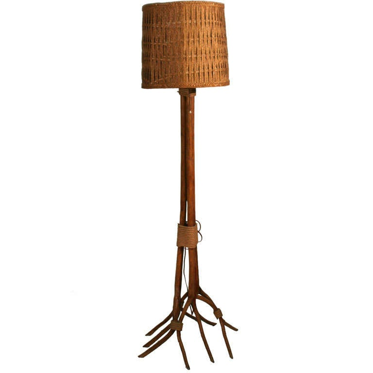 A country pitchfork and woven rattan shade floor lamp at for Floor lamp with woven shade