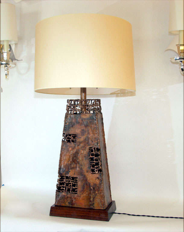 A pair of sculptural patinated copper table lamps by Fantoni.