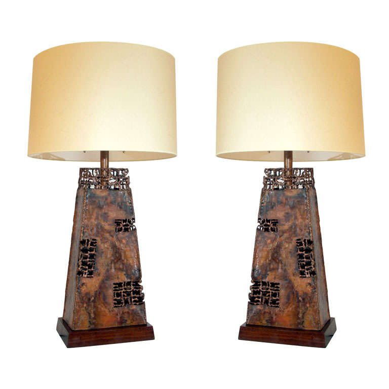 Pair of Sculptural Patinated Copper Table Lamps by Fantoni