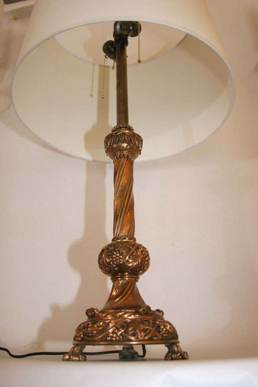 Pair of French Art Deco Bronze Table Lamps For Sale 2