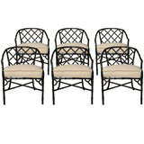 Set of Six Brown Jordan Faux Bamboo Chairs