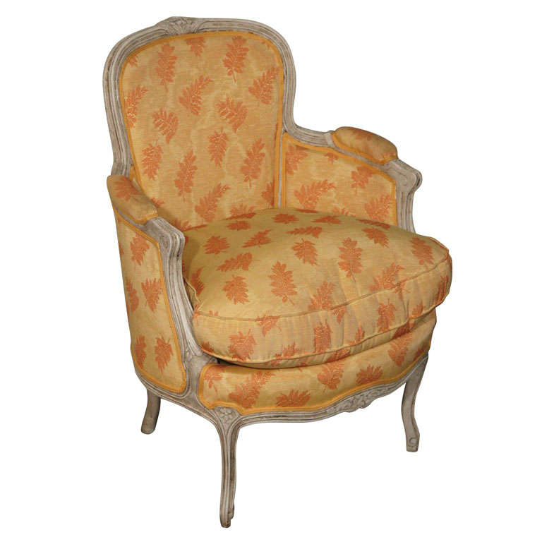 Pair louis xiv style french antique bergere arm chairs antiques of - 19th C Louis Xiv Petite Bergere Chair In Silk And Down