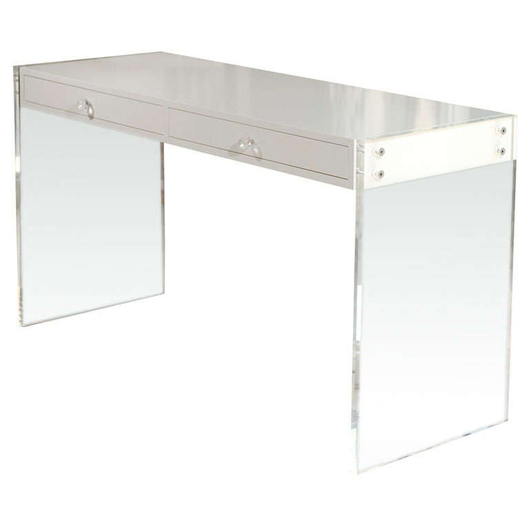 Custom lucite lacquered desk at 1stdibs for Perspex desk