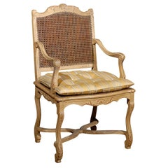 Regence Style Painted & Caned Fauteuil
