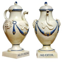 Pair of 18th Century English Creamware Ewers after an Ancient Roman Design