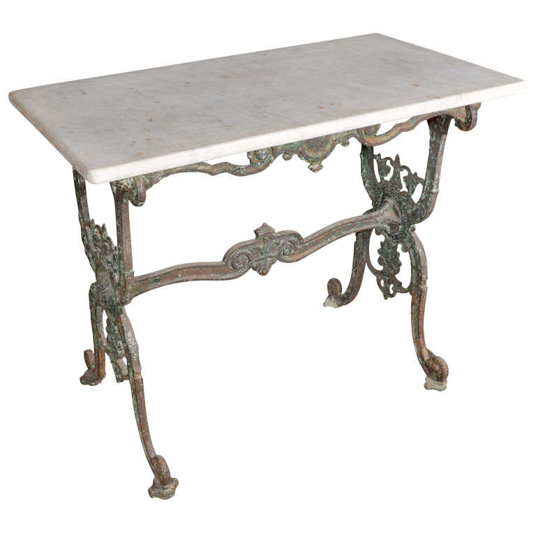 Antique 19th Century French Iron And Marble Patisserie Table 1