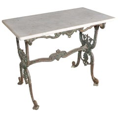 Antique 19th Century French Iron and Marble Patisserie Table