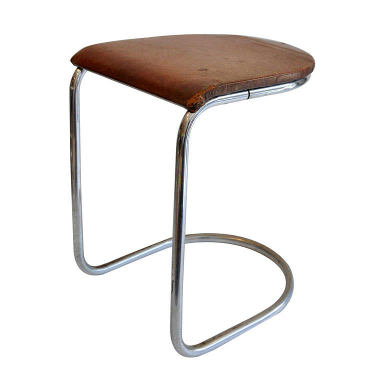 Bauhaus Era Chrome And Leather Industrial Stool At 1stdibs