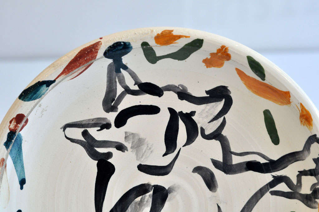 Late 20th Century 1970s Ceramic Plate by Peter Shire For Sale