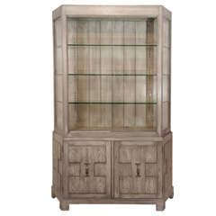 A Faux Painted Glass Top Cabinet
