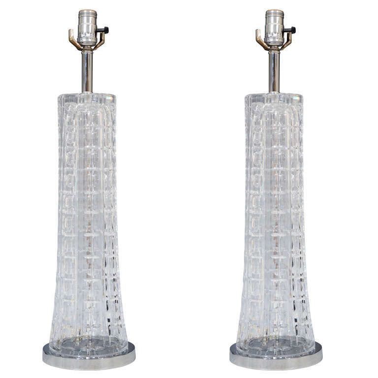 Pair of 1970s Clear Glass Table Lamps