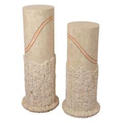 Pair of Mid-Century Travertine Pedestals by Maitland Smith