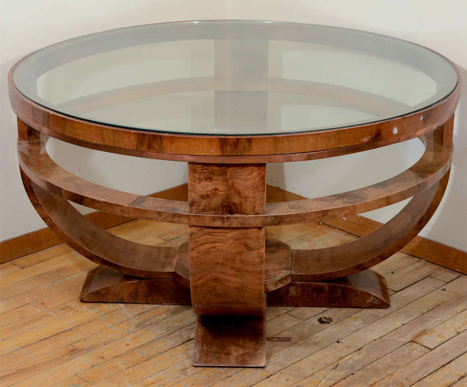 Round art deco french glass top coffee table with burled for French glass coffee table