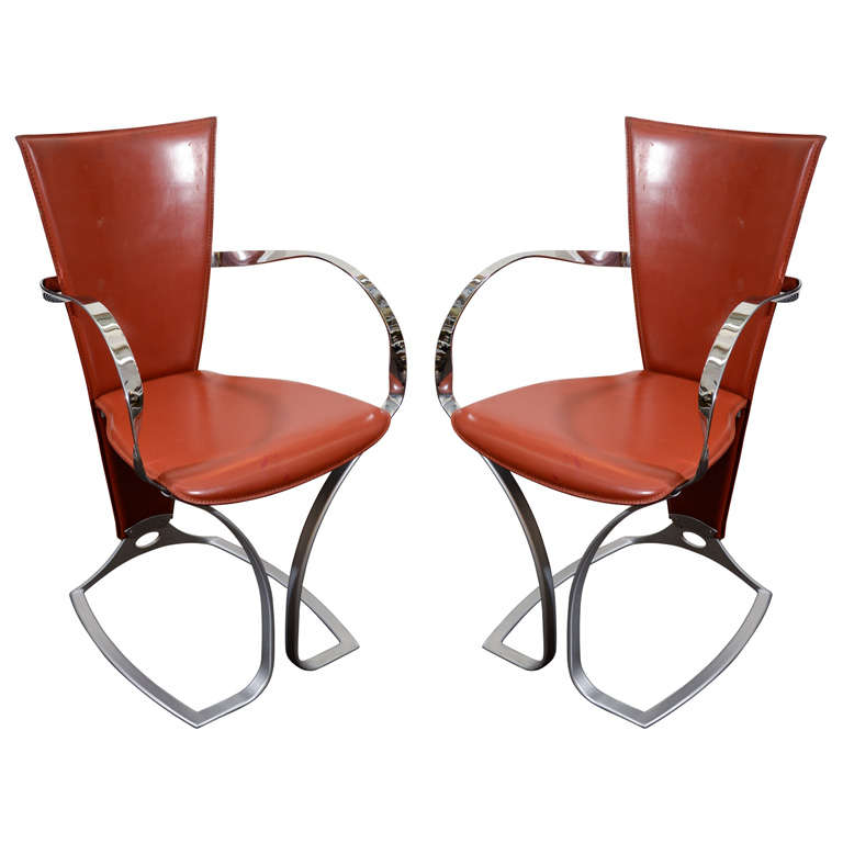 set of six leather deco armchairs with chrome