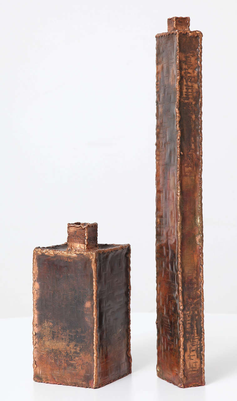 Hammered Brutalist Vases by Marcello Fantoni for Raymor For Sale