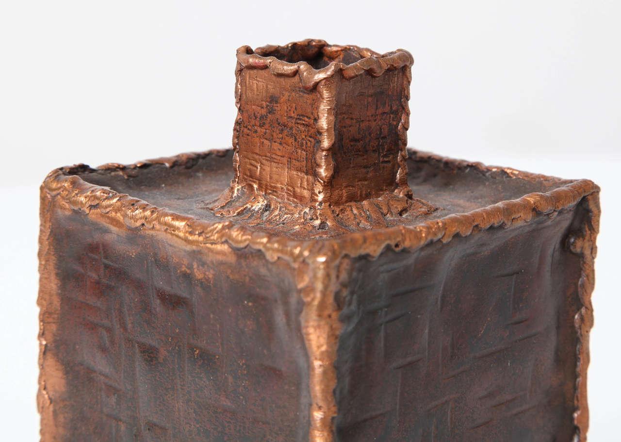 Copper Brutalist Vases by Marcello Fantoni for Raymor For Sale
