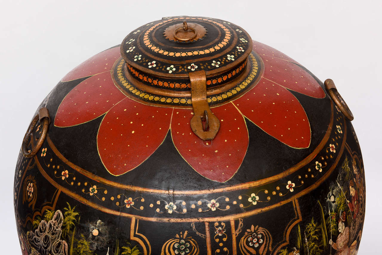Anglo-Indian  Over-Scaled Anglo Indian Tole Rice Barrel For Sale