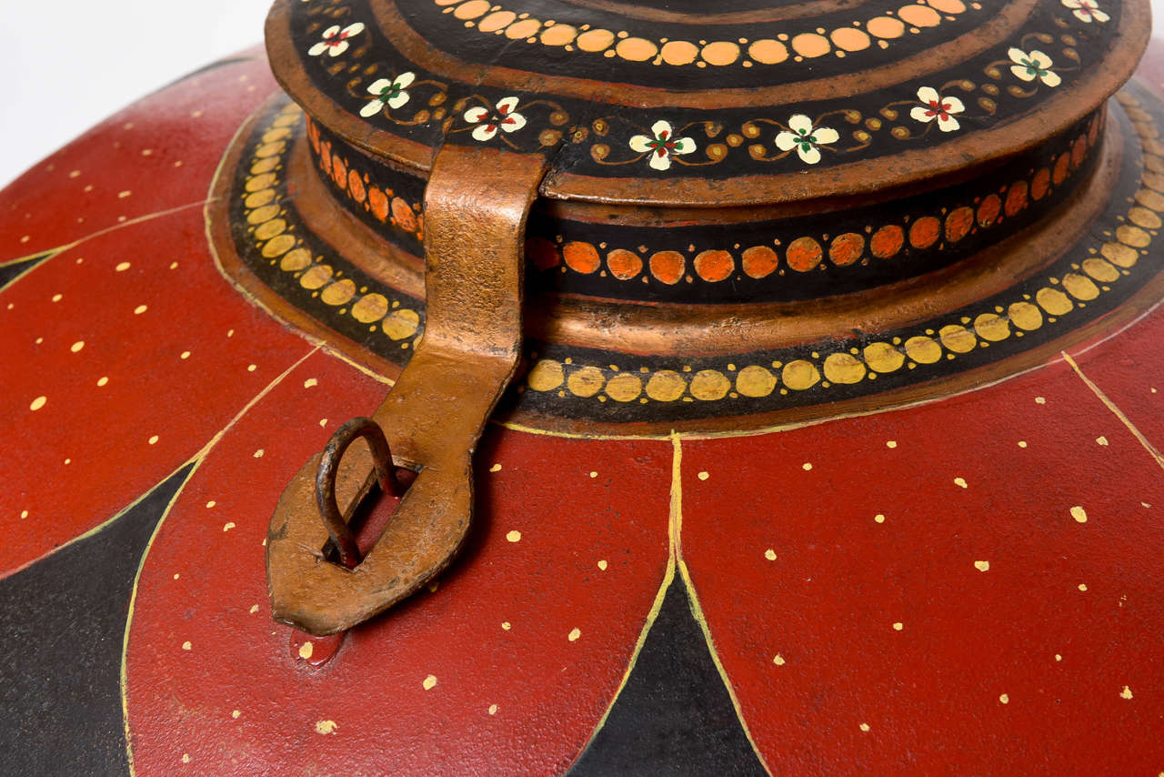 Hand-Painted  Over-Scaled Anglo Indian Tole Rice Barrel For Sale