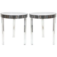 """""""Regency""""Stainless Steel and Lucite Side Tables After Charles Hollis Jones"""