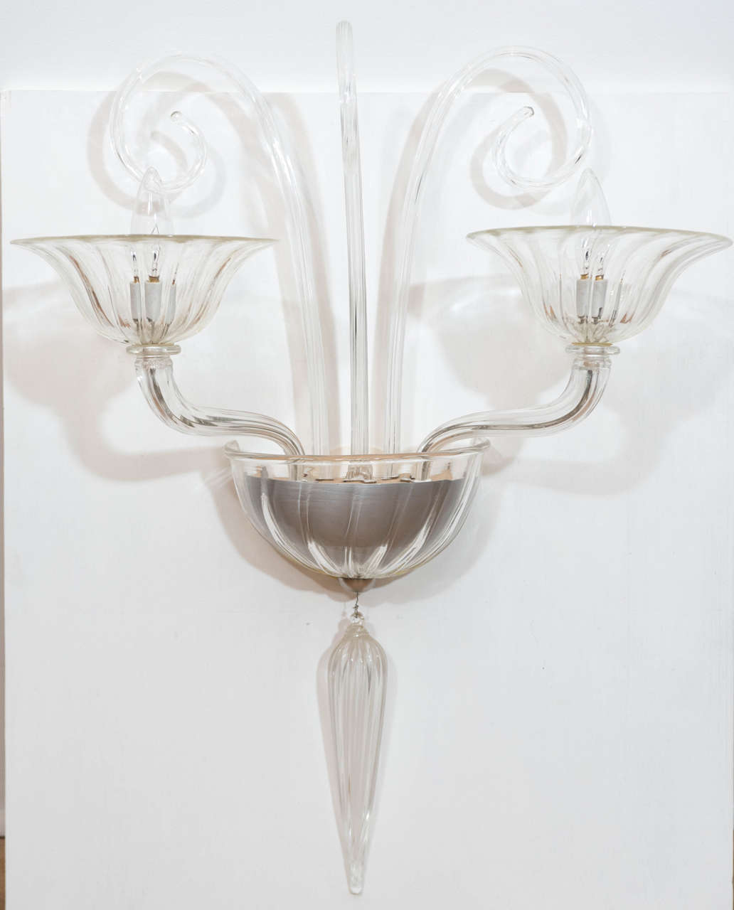 Pair of Murano Glass Wall Sconces Attributed to Mazzega 2