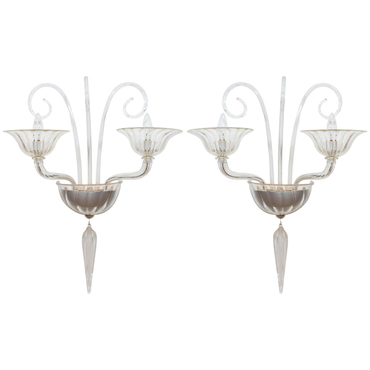Pair of Murano Glass Wall Sconces Attributed to Mazzega