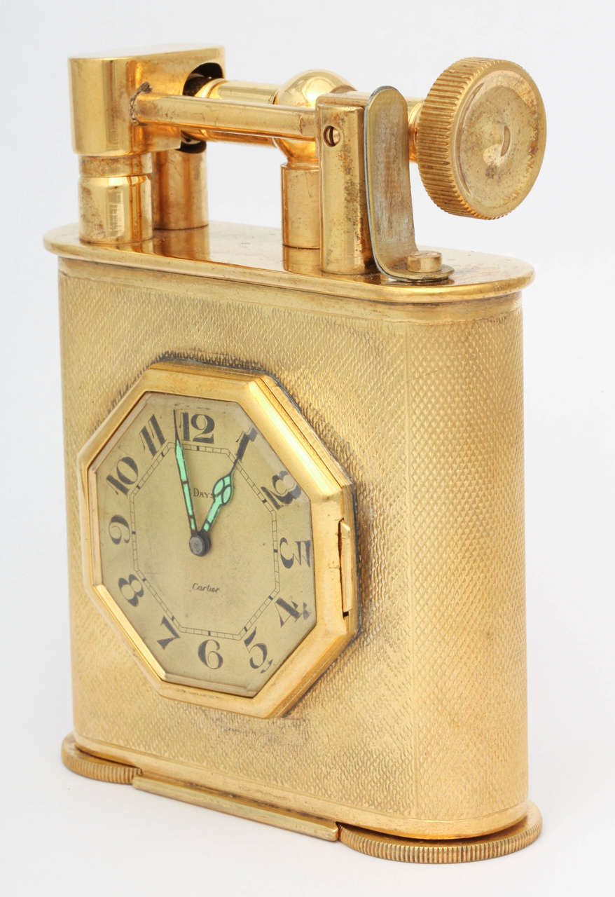 Cartier Desk Clock and Lighter In Excellent Condition For Sale In New York, NY