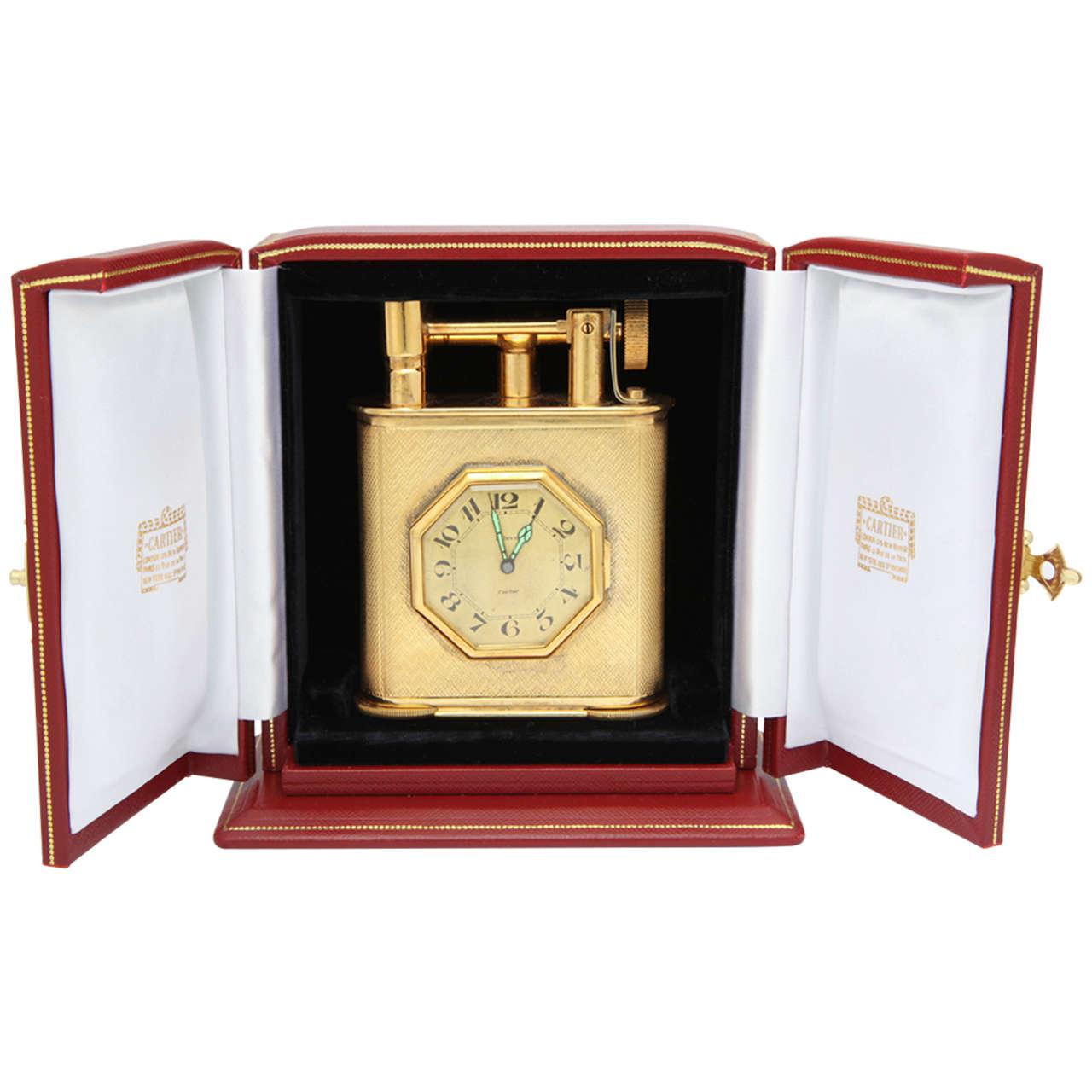 Cartier Desk Clock and Lighter
