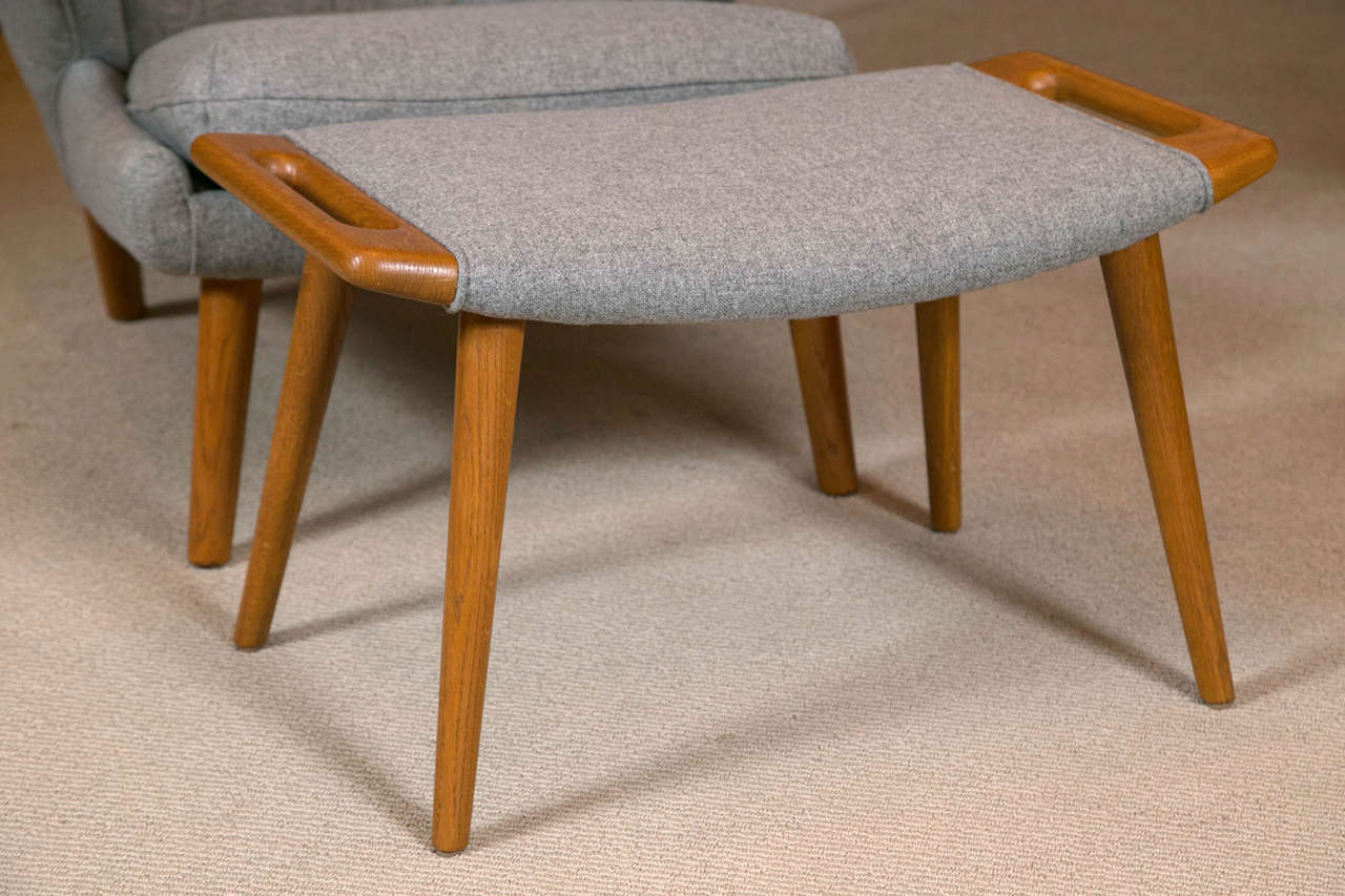 A Hans Wegner Papa Bear Chair with Stool produced by A.P. Stolen For ...
