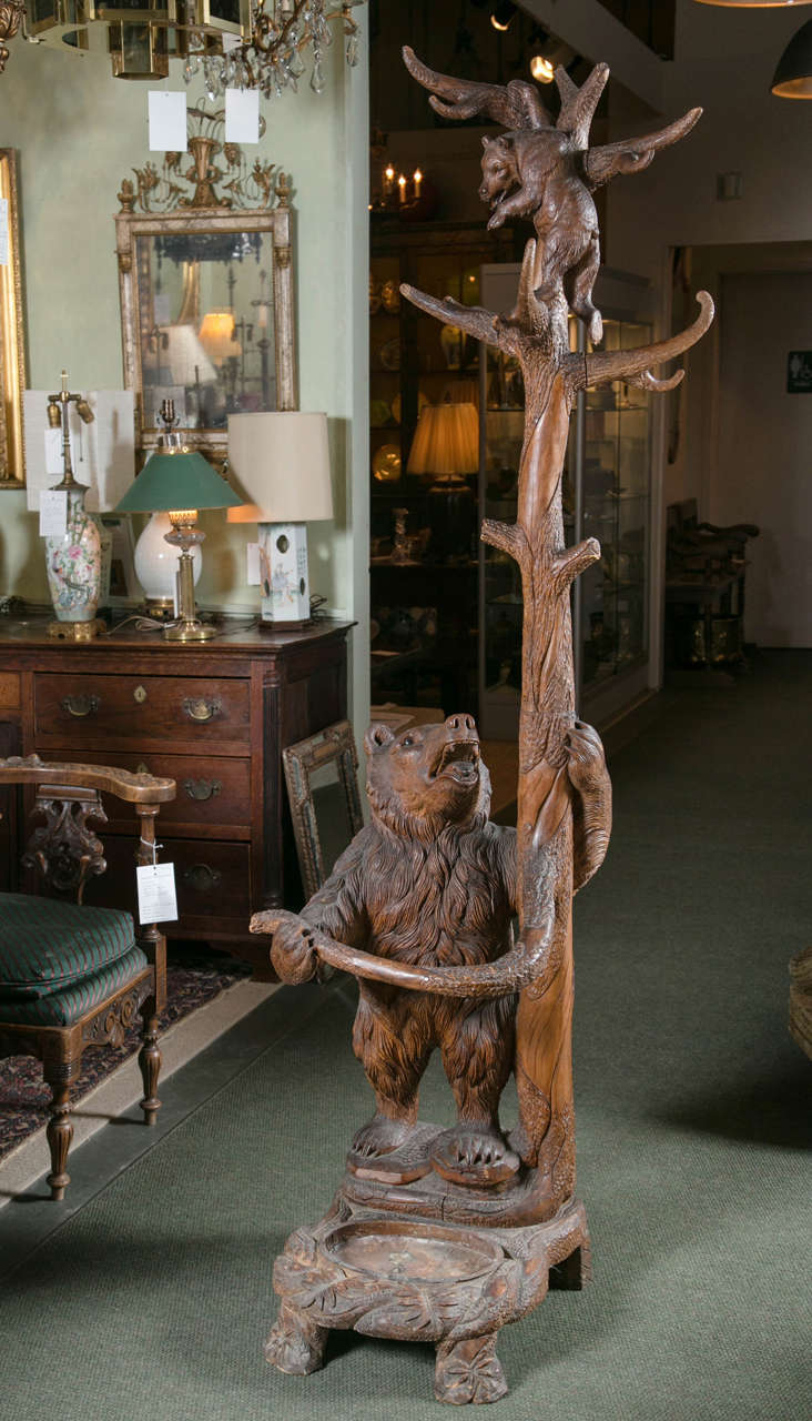 Black Forest Carved Bear Coat Rack Or Umbrella Stand For
