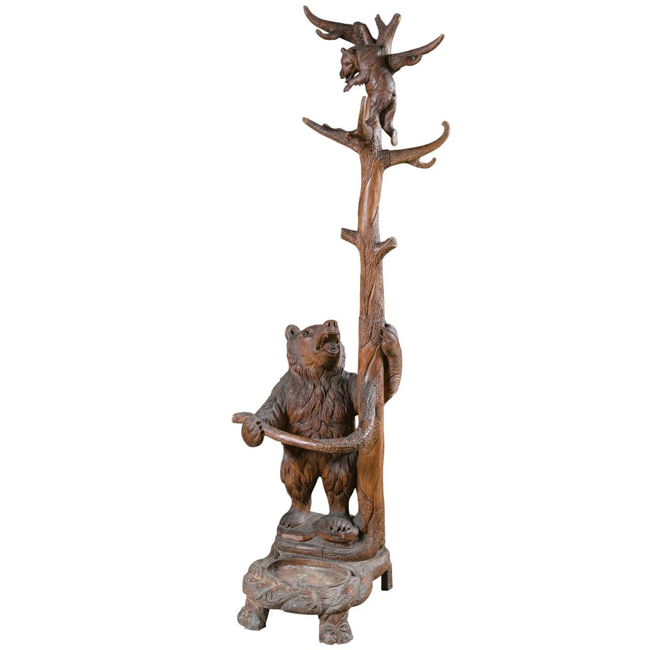 Black Forest Carved Bear Coat Rack Or Umbrella Stand For Sale