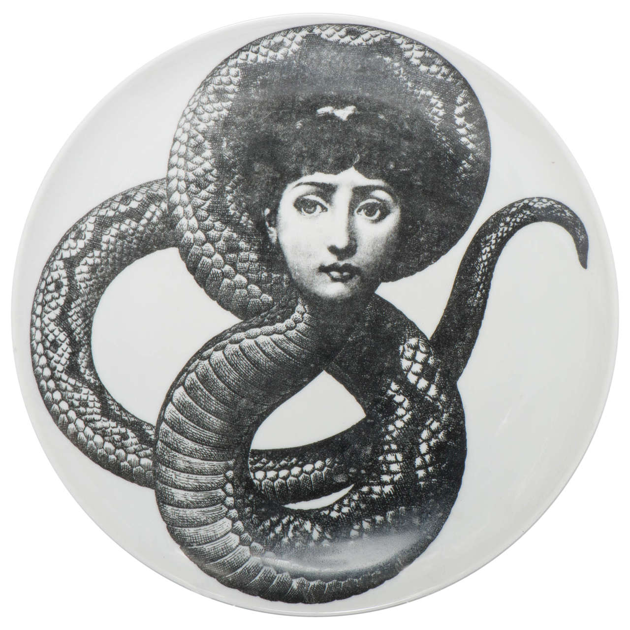 "Piero Fornasetti porcelain plate ""Tema e Variazione"" number 198,Italy circa 1960"