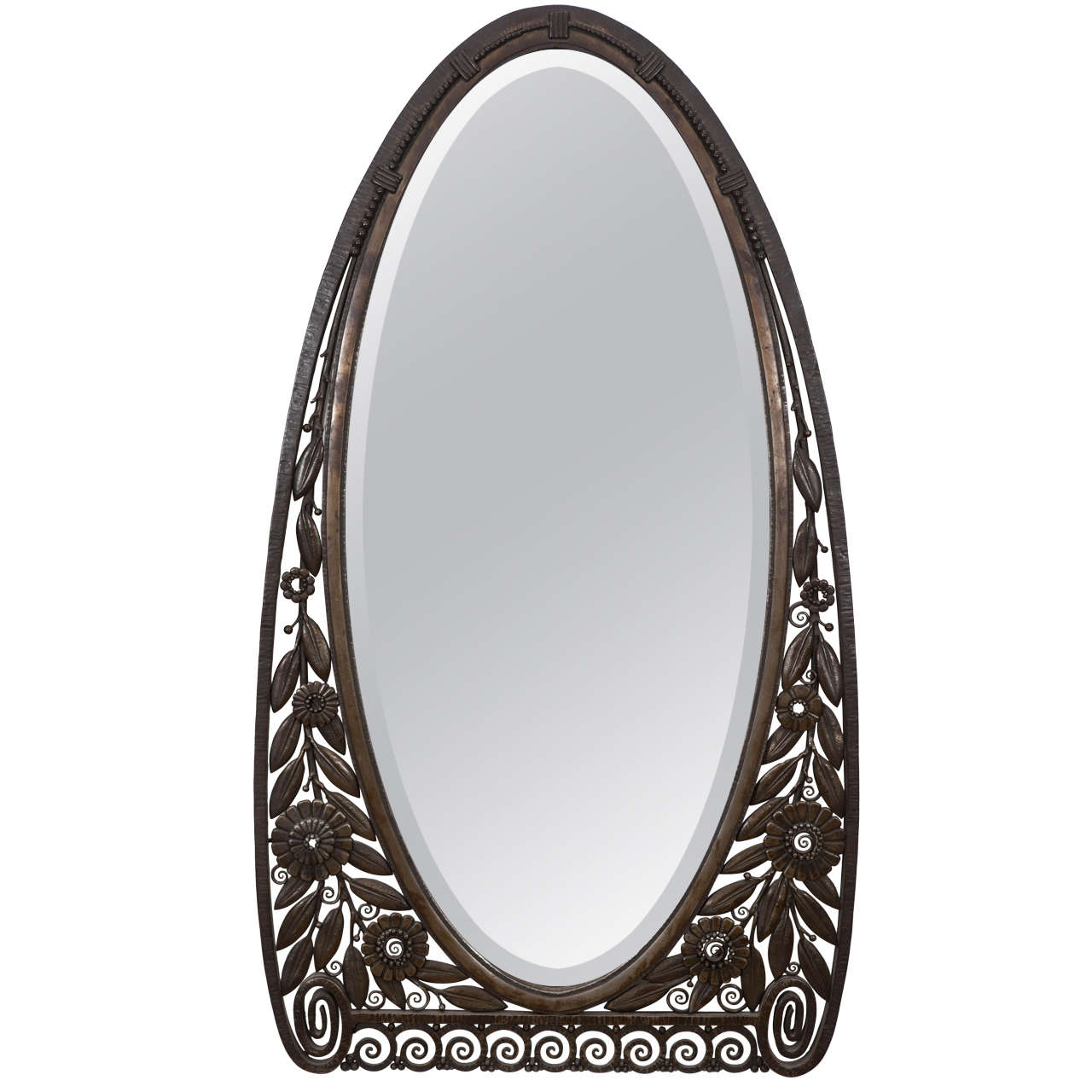 Art deco wrought iron wall mirror attributed to raymond for Wrought iron mirror