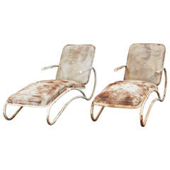Pair of Sculptural Iron Chaise Lounges
