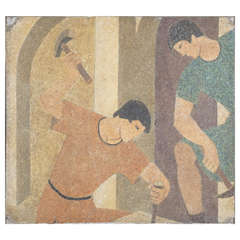"""""""Masons"""" Terrazzo of Two Masons, WPA Art"""