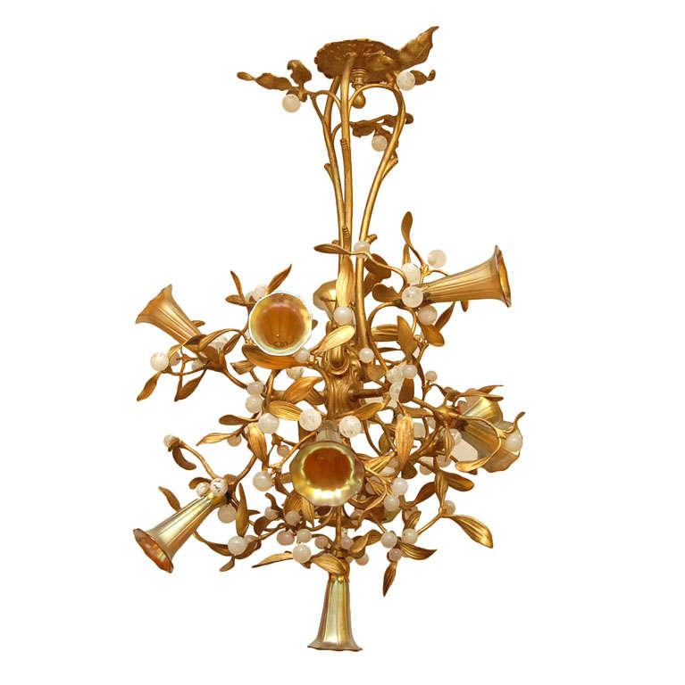 Art nouveau mistletoe chandelier with art glass shades 10 for Chandelier art nouveau